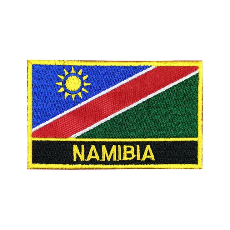 Namibia Flag Patch Embroidered Patch Gold Border Iron On patch Sew on Patch Bag Patch meet you on www.Fleckenworld.com