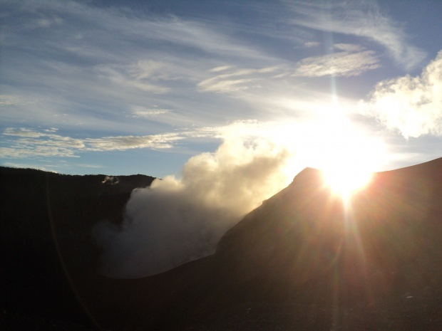 Sunrise over the active craters of Mt. Marapi, West Sumatra