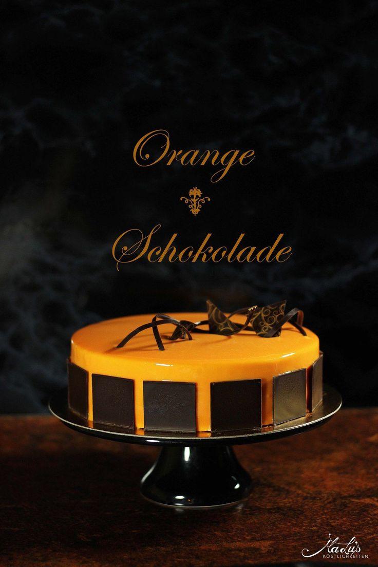 Orangentorte mit Schokoknusperboden und Mirror Glaze    Knusper   Boden   Orange Orange durch Zitrone  ersetzen?  Mirror glaze