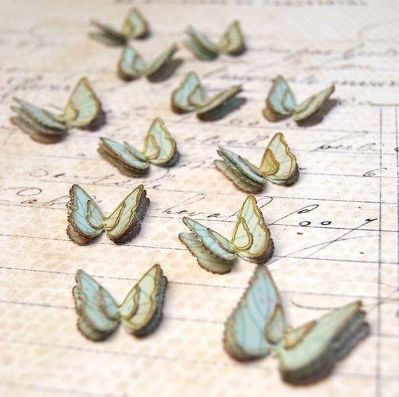 pastel aqua paper butterflies
