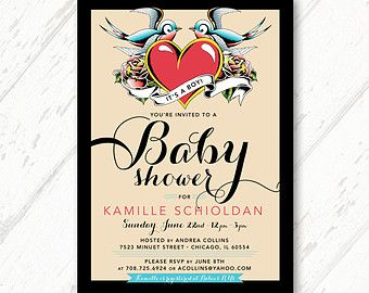 Turquoise, Red and Black, Tattoo Themed, It's a Boy, Baby Shower  - DIY Invitations