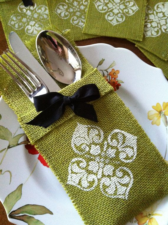 Burlap Silverware Holder with Hand Stamped  by FancyPantzBoutique, $12.00
