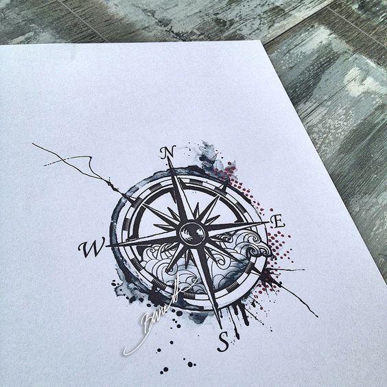 Compass tattoo watercolor trash polka modern wave: