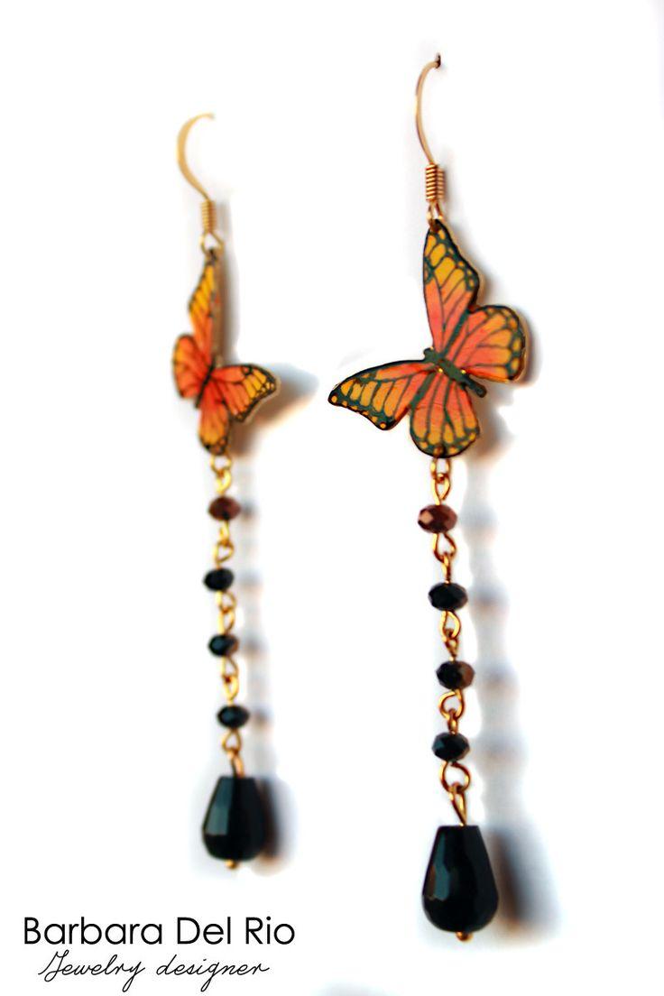 Orecchini farfalla gialla ed arancio : Orecchini di barbara-del-rio