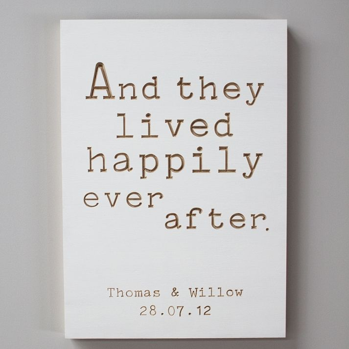 Happily ever after wedding plywood board