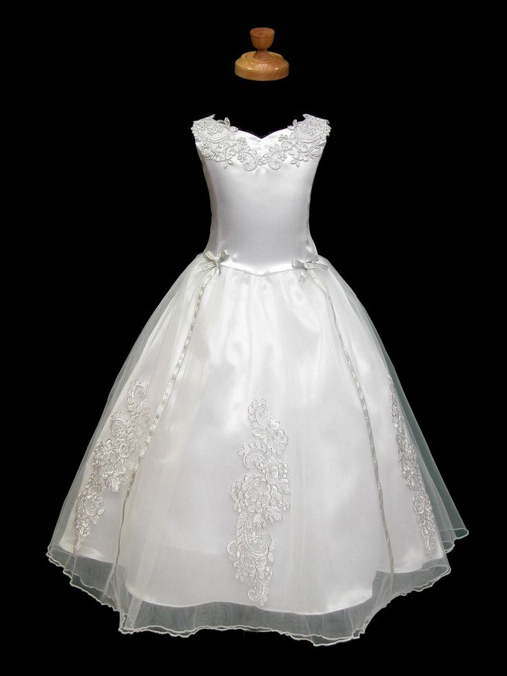 First Communion Dresses Unique | ... Style Cute A-line Applique Satin Floor Length First Communion Dress