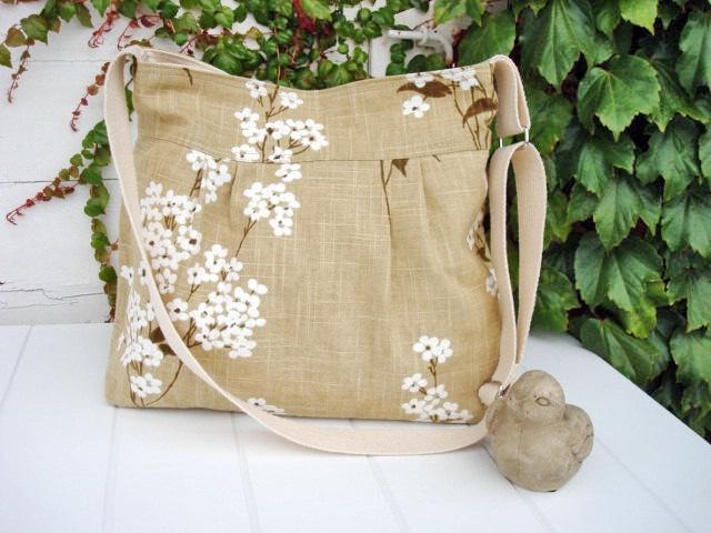 Linen Shabby Chic / Cherry Blossom/ shoulder  Bag/ messenger bag/ipad bag. $55.00, via Etsy.