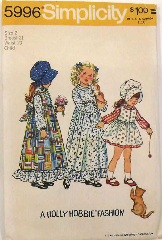 Vintage 70's Sewing Pattern, Pinafore and Dress, Size 2, Bonnet; prairie girl, holly hobbs; etsy $8.00