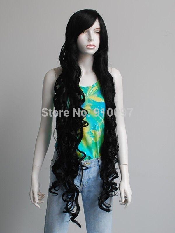 Бесплатная доставка >>>> 40  привет - температура супер длинные волнистые вьющиеся черные как смоль взрыва косплей ну вечеринку волосы парики