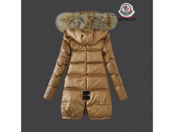 Mantel moncler damen khaki mit dem pelz