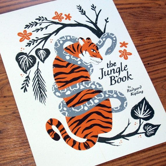 re-imagining the cover for the jungle book with this screen print. by smalltalk studio.