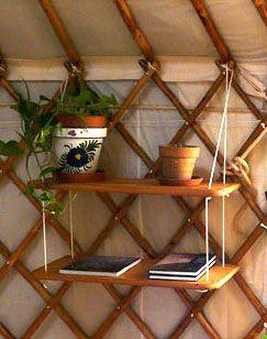 shelves inside yurt