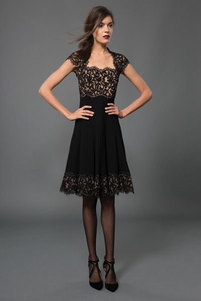 #92 PINTUCK JERSEY AND LACE SQUARE NECKLINE CAP SLEEVE DRESS WITH SHEER LACE DETAIL