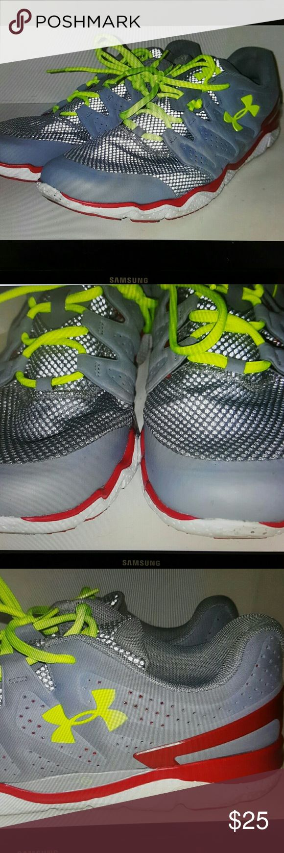 Under armour mens shoes size 13 Under armour mens shoes micro G Athletic shoes Gray, green, red Size 13 mens Under Armour Shoes Athletic Shoes