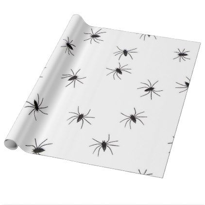 Creepy Crawling  Black Halloween Spiders Wrapping Paper - wrapping paper custom diy cyo personalize unique present gift idea