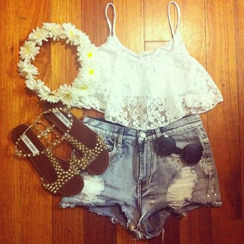 Lace crop top and high waisted shorts
