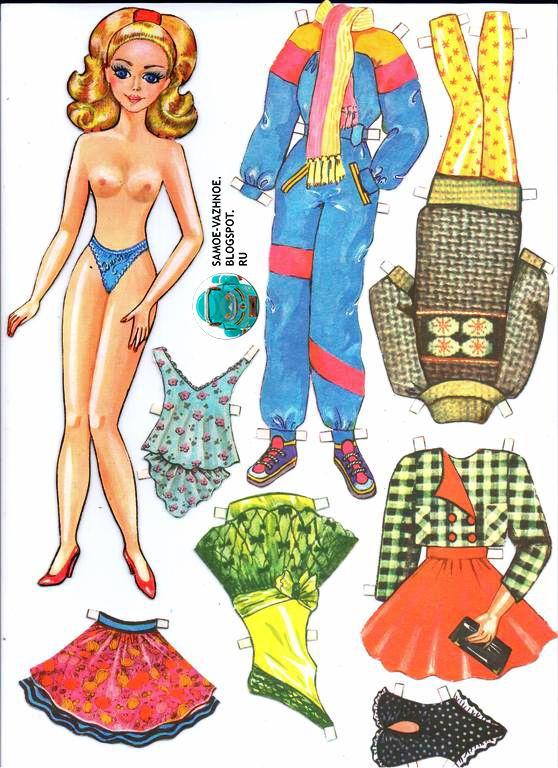 Бумажная кукла Барби-Варя топлес голая каблуки красные туфли кружевные голубые трусики дом журнал