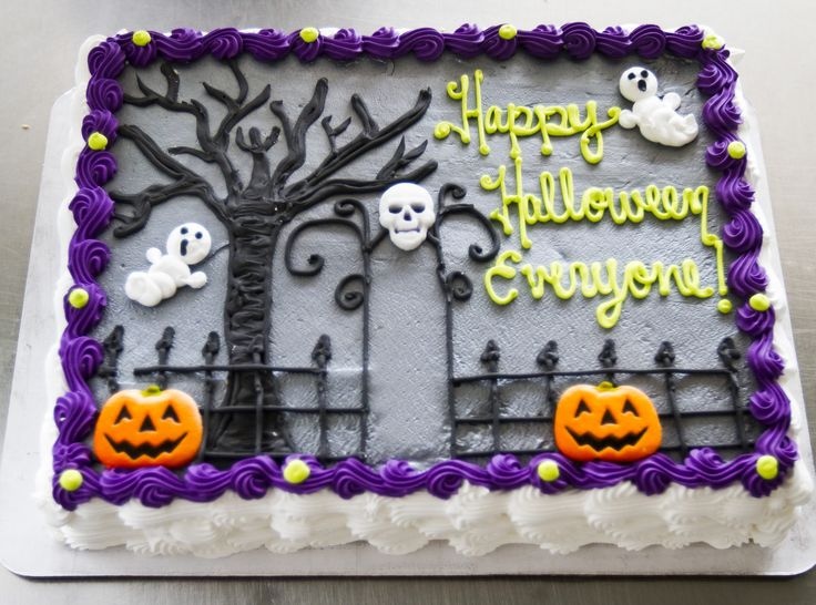 Halloween Sheet Cake Decorating Ideas : A graveyard cake with ghosts for Halloween. Cake # 028 ...