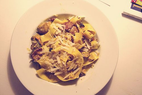 pasta with saffron and lamb sausage