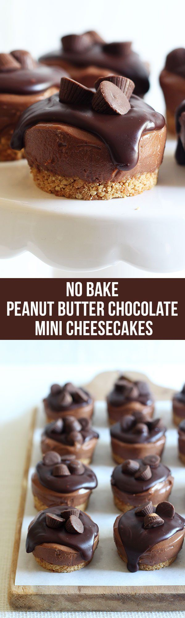 Perfect for you you don't wanna or can't use the oven! These were the best no bake cheesecakes I've ever had! No Bake Mini Peanut Butter Cheesecakes have a crunchy graham cracker crust, ultra rich and creamy chocolate peanut butter cheesecake filling, and are topped with chocolate ganache and mini peanut butter cups.