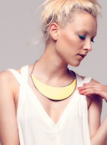Cres L Necklace by Minty Meets Munt #MMM #goshcelebrity #neons #trends #citrine #yellow #necklace #jewellery #fashion #style #accessory