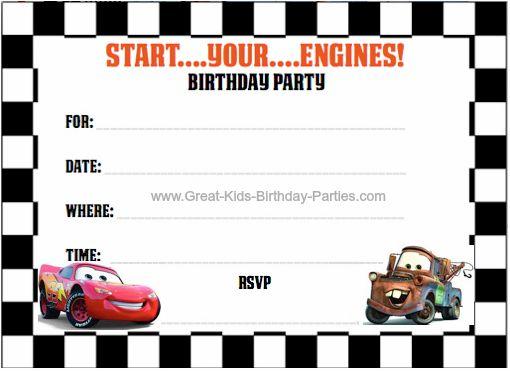 Free Printable Cars Birthday Invitation Cards