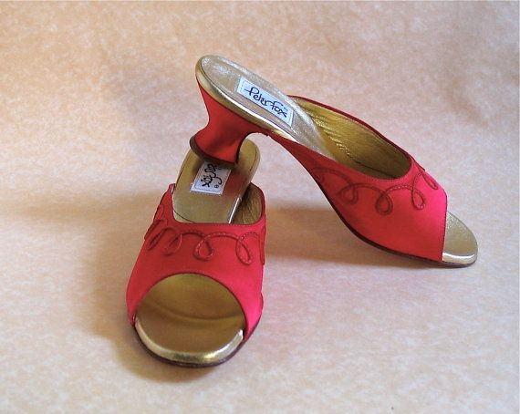 Peter Fox Sandals, Sale! Red Silk Mules, Women's Size 6 1/2, Unworn, Made in Italy