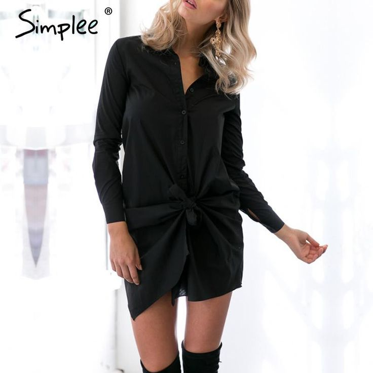 Simplee Apparel brief white shirt dress women Sexy bow long sleeve summer dress new Casual straight black office dresses