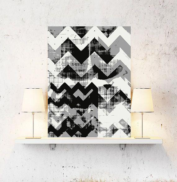 Arte nordica, arte grafica, arte parete stampa, astratta geometrica astratta, chevron, bianco e nero, arte moderna, arte scandinava, arte