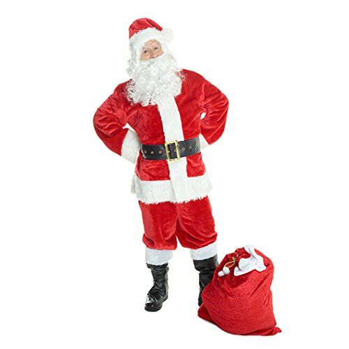 Mens Christmas Deluxe Santa North Pole Fancy Dress Costume – 6 Piece Quality Costume