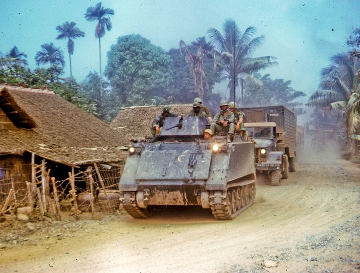 """Road to My Tho. Along the road between Dong Tam, """"home"""" to the 9th Infantry Division, and the city of My Tho in Dinh Tuong Province in the Mekong delta, November 1968"""