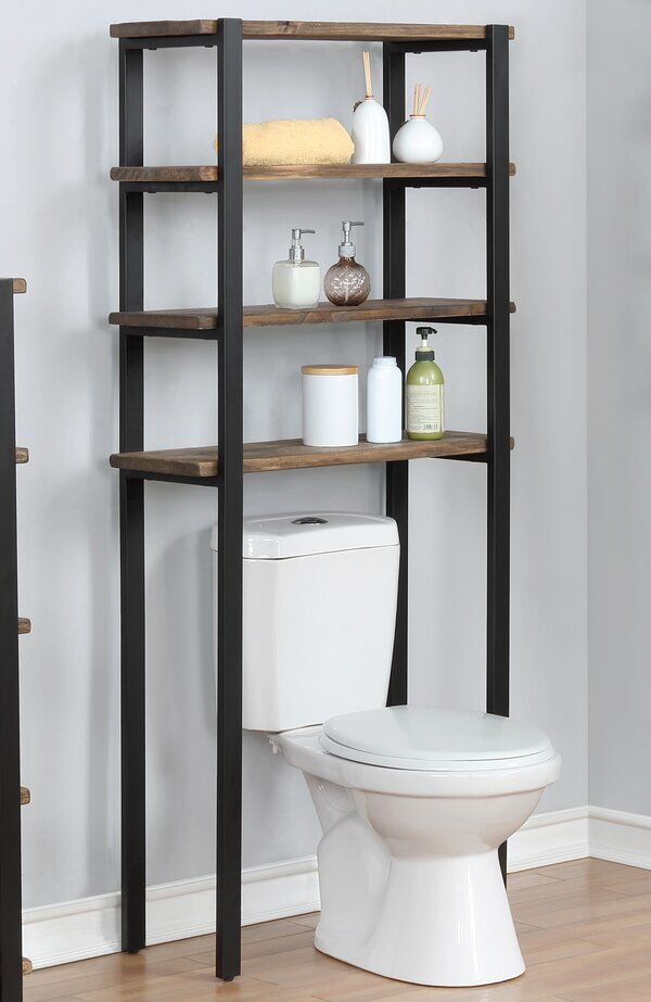 Steadman 29 W X 64 H X 12 D Solid Wood Over The Toilet Storage In 2021 Toilet Storage Toilet Shelves Bathroom Storage Solutions