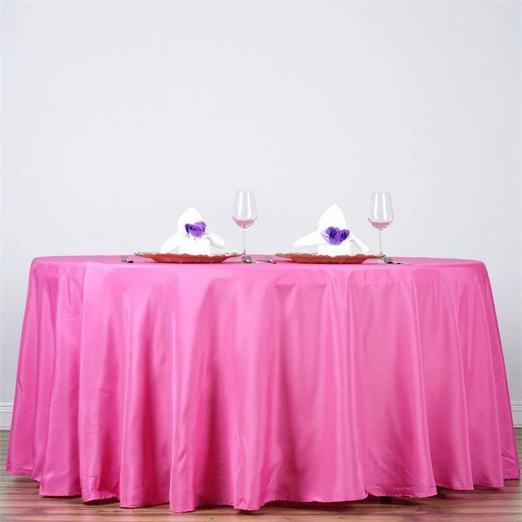 """132"""" FUSHIA Wholesale Polyester Round Tablecloth For Wedding Banquet Restaurant"""