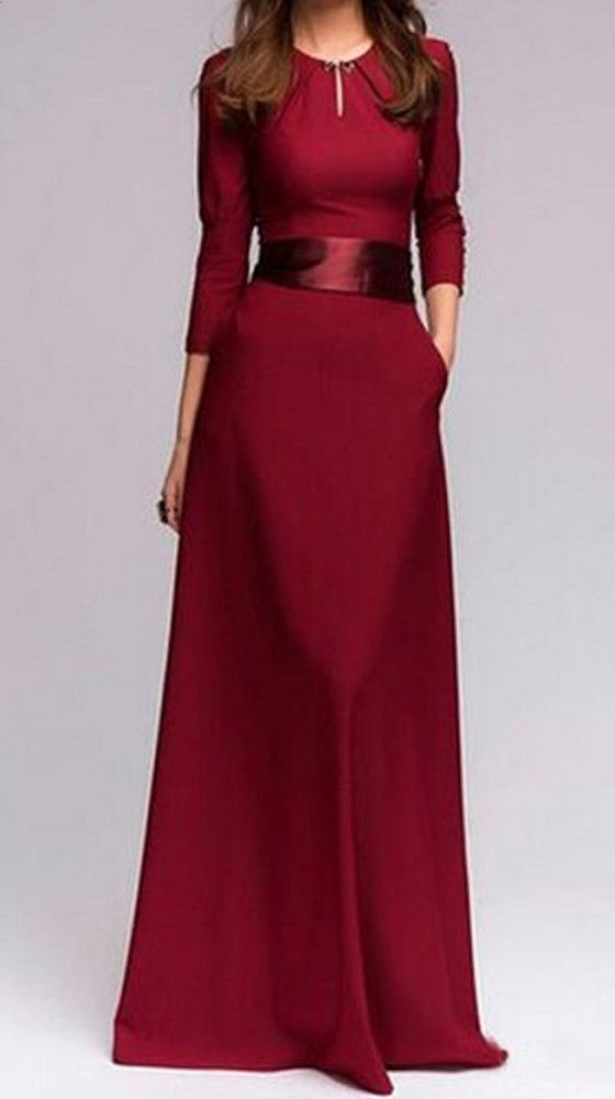 Red Patchwork Buttons Round Neck Fashion Maxi Dress