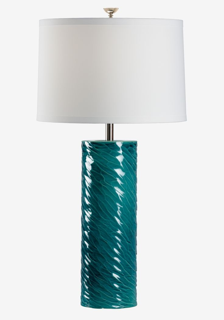 """FineHomeLamps.com - London Cylinder Teal Table Lamp by Chelsea House - 36"""", $457.70 (http://www.finehomelamps.com/london-cylinder-teal-table-lamp.html/)"""
