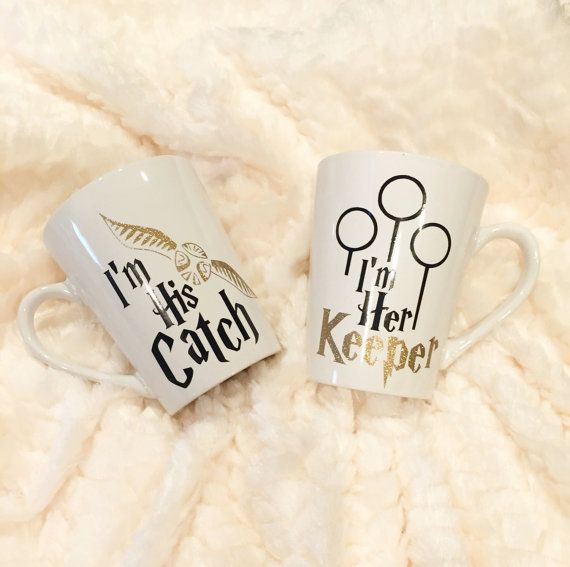 Harry Potter Couples Mug Set / Quidditch by LuckyJacksCreations