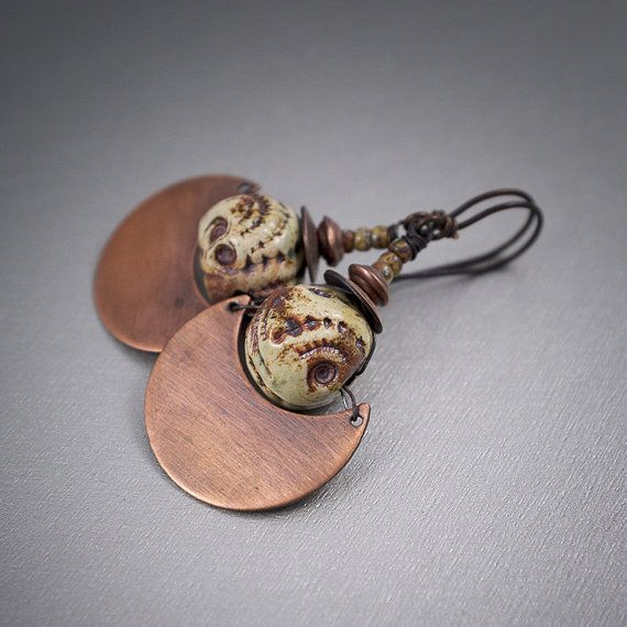 rustic tribal earrings • ceramic • pottery • oxidized copper • half moon • bohemian • handhammered • primitive earthy • ethnic • entre2et7