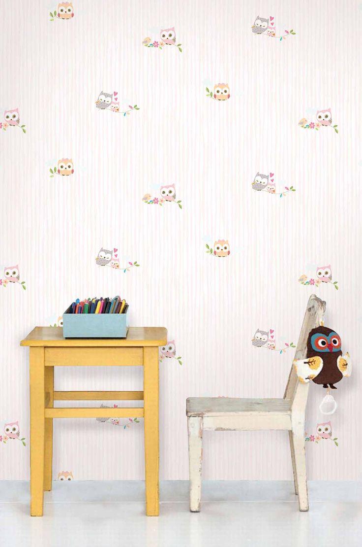 Empapelado - Lechuzas rosas - Papel de parede