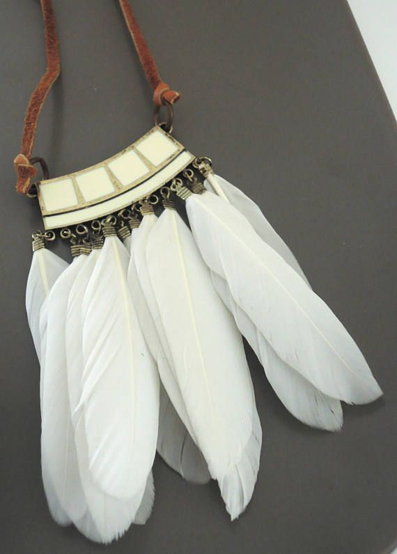 Feather necklace Necklace  Leather Necklace  White Feather