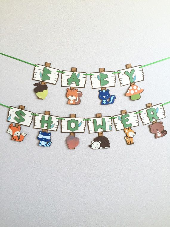 Free Shipping - Baby Shower Woodland banner | Forest animals baby shower | woodland creatures pennant | Forest animals new arrival banner!