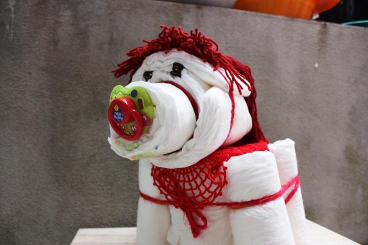 Diapers Baby Horse - For an original baby shower gift - MADE by Francesca Gentile / Baby Cavallino di pannolini - Per un regalo originale adatto a una baby shower o alla nascita di un bimbo - REALIZZATO da Francesca Gentile