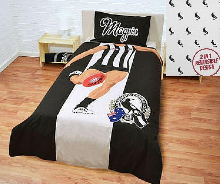 Collingwood Magpies Player Single Size AFL Doona Quilt Cover set. Available at Kids Mega Mart Shop Australia www.kidsmegamart.com.au