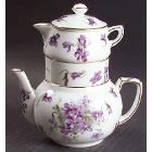 Hammersley Victorian Violets Mini Teapot Stacking Set (Creamer, Sugar), Fine China Dinnerware - Bunches Of Violets,Gold Trim