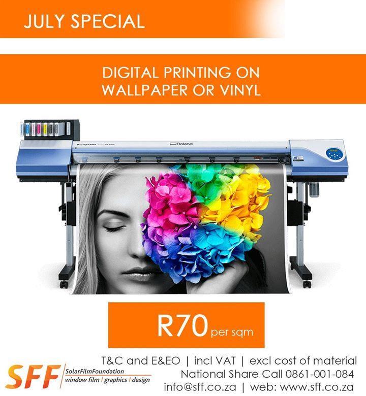 Digital printing on wallpaper or vinyl @ R70 per sqm (excl cost of material)