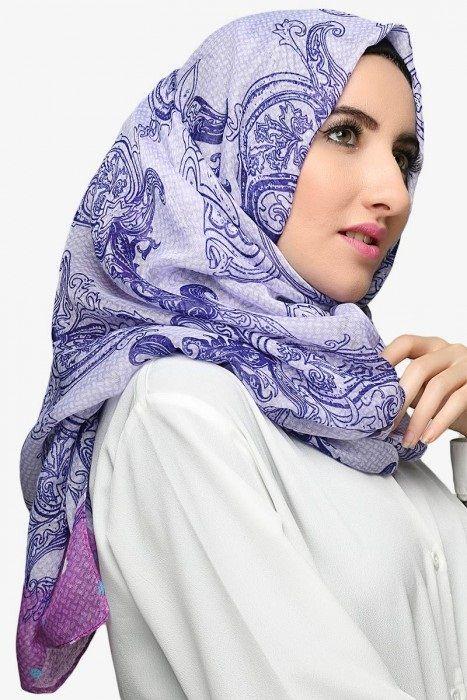Kerudung dan Jilbab modern ( Pashmina Viscose Paris Cora Purple )