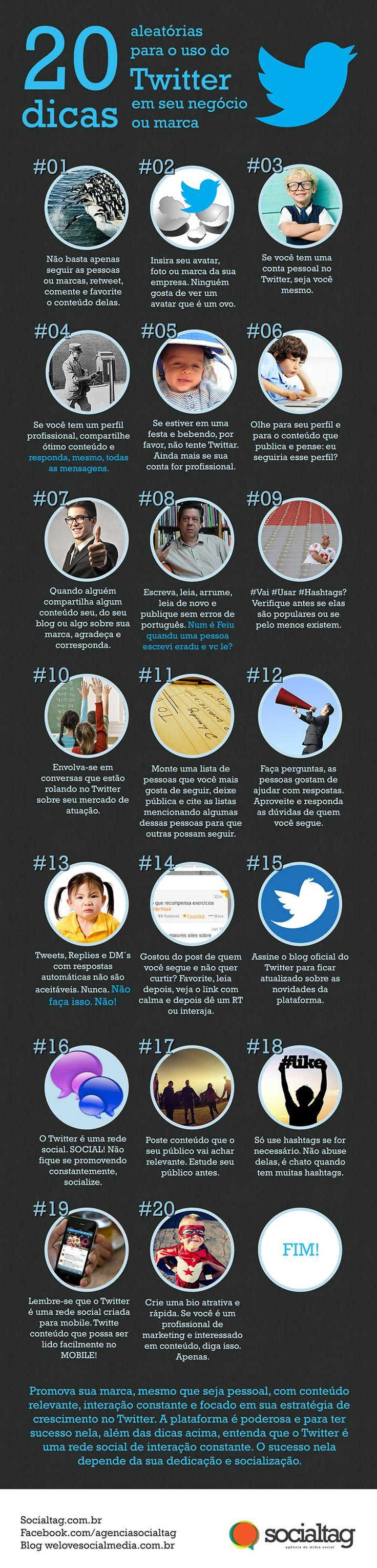 Infográfico traz 20 dicas para sua empresa usar o Twitter de forma eficiente.