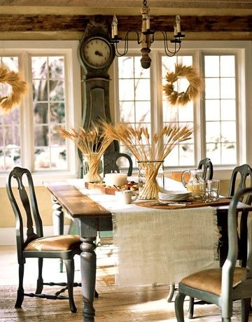 Wheat in glass vases is great idea for Thanksgiving table setting. Holiday decorating by vivian