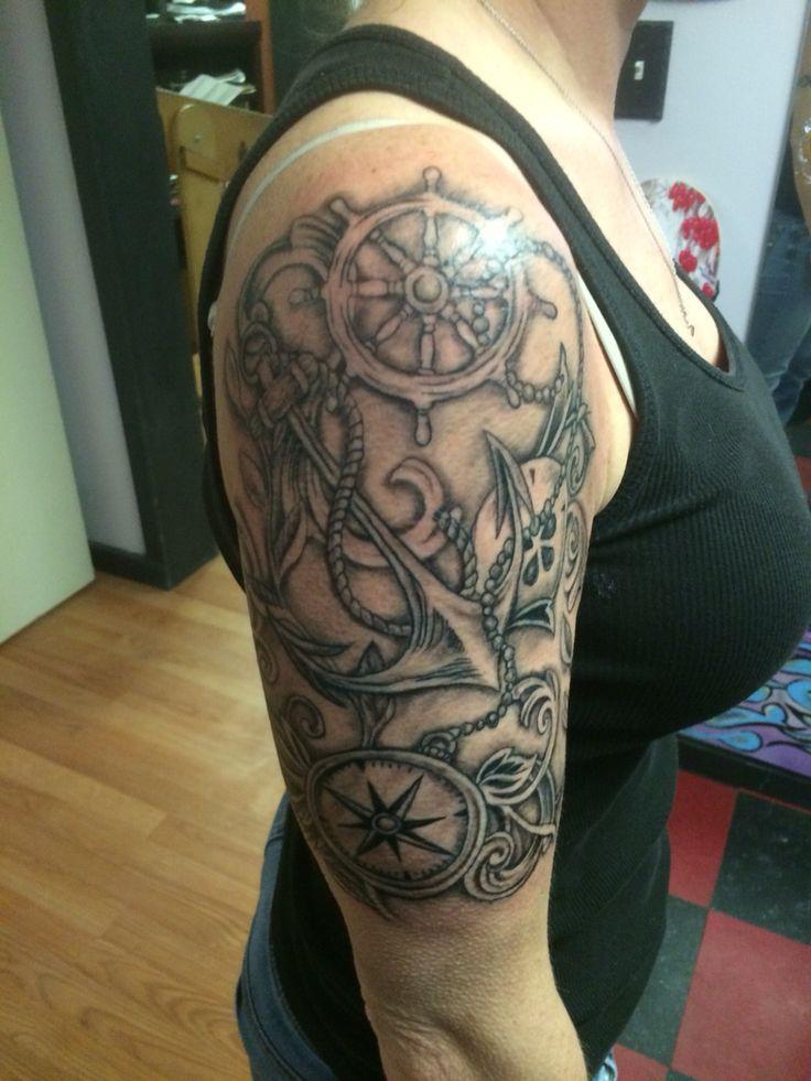 black and grey compass tattoo nautical tattoo half