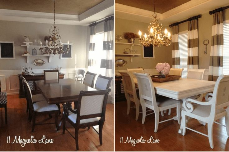 Repainting with white for DIY dining table makeover ideas before and after. Get other idea inside site, click visit.