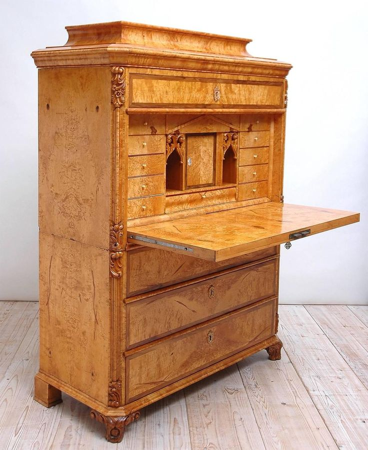 Swedish Birch Root Secretary With A Flight Of Drawers Circa 1850